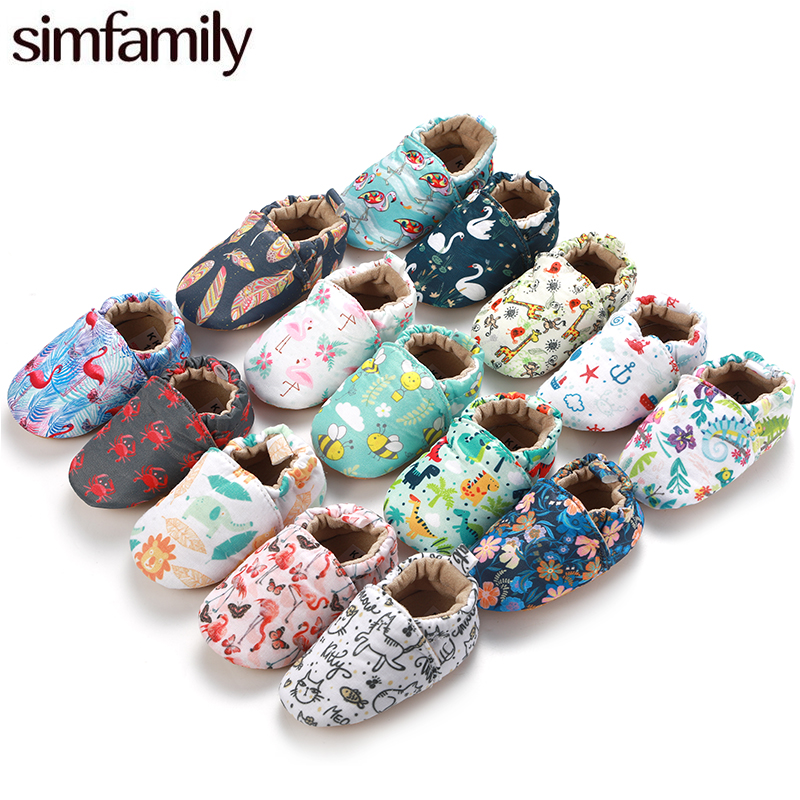 [simfamily]Kid Girls Boy First Walkers Soft Infant Toddler Shoes Cute Flower Soles Crib Shoes Footwear For Newborns Baby Shoes(China)
