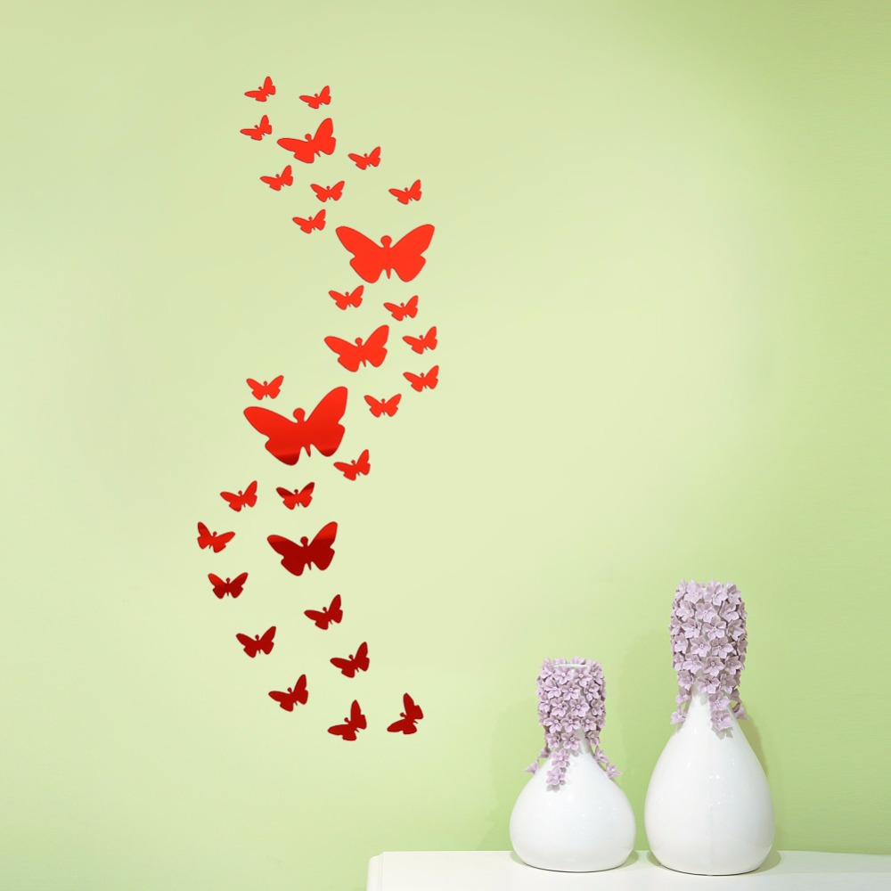 30 Pcs/lot Butterfly Wall Stickers Home Decor DIY Art Silver Acrylic ...