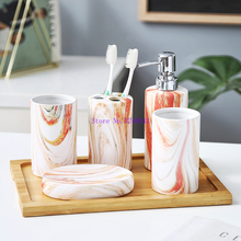 Simple ceramic bathroom set bathroom supplies ceramic 5 piece latex bottles / soap dish bathroom accessories Bamboo tray