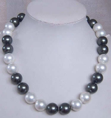 Women Gift Freshwater  Details about 12MM Elegant white black Shell Pearl Fashion Jewelry Necklace