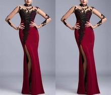 Custom Made High Collar Black Lace Side Slit Long Burgundy Mermaid Elegant Women Prom Dress Evening Sleeve