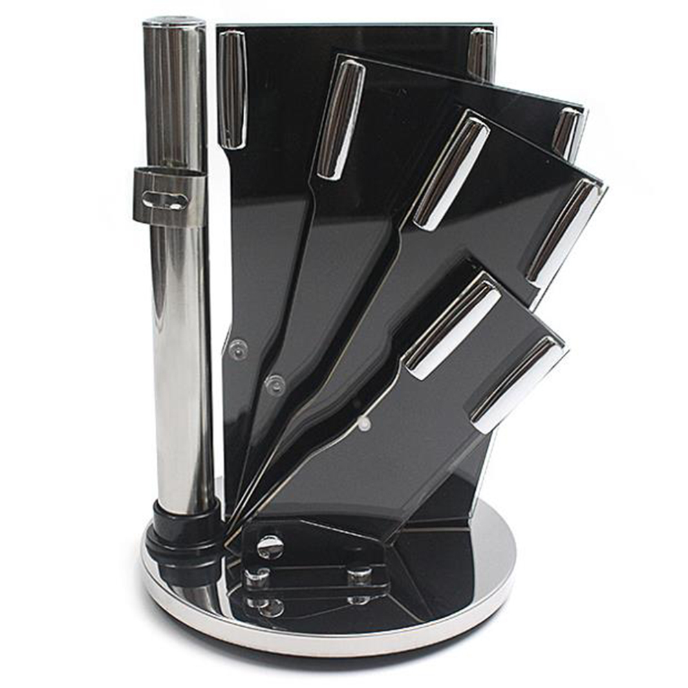 Multifunction Rotatable Acrylic Kitchen Knife Holder Sector Knife Seat Kitchen Cutlery Storage Rack New Style Kitchen Gadget in Blocks Roll Bags from Home Garden