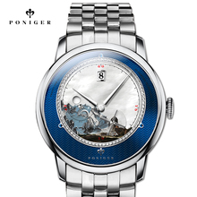 Switzerland Luxury Brand PONIGER Men's Watch Japan Import Automatic Mechanical MOVT Wristwatches Men Sapphire Waterproof P723-6 цена
