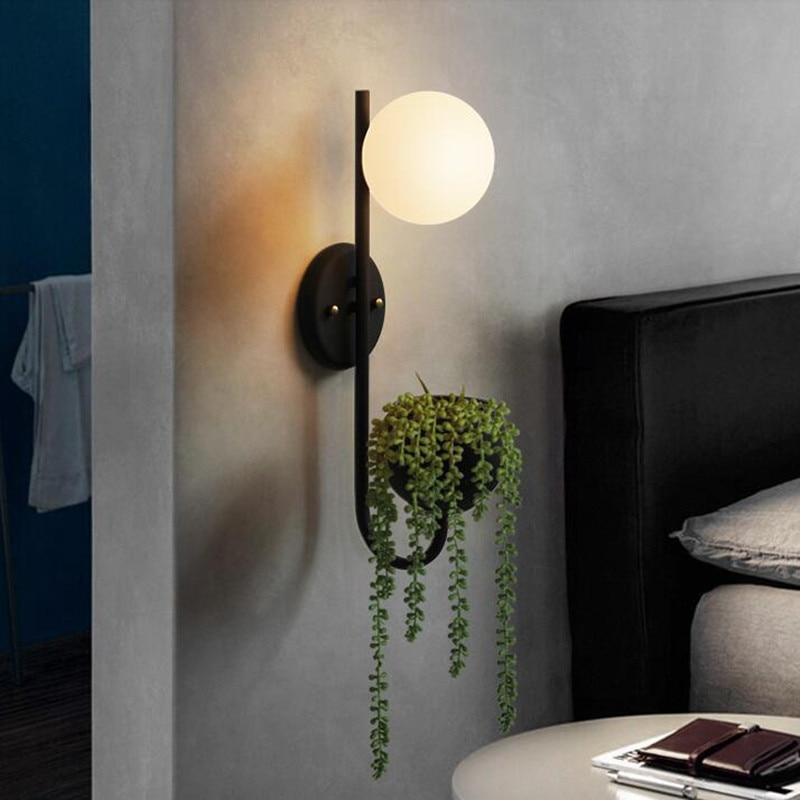 New Designer Retro BedroomGlass Ball Plant LED Wall Lamp Nordic Bedside Restaurant Mirror Wall Lighting