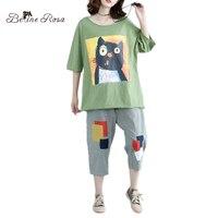 BelineRosa 2017 Women S Plus Size Tops Tee Korean Casual Kawaii Cat Printing Summer T Shirt