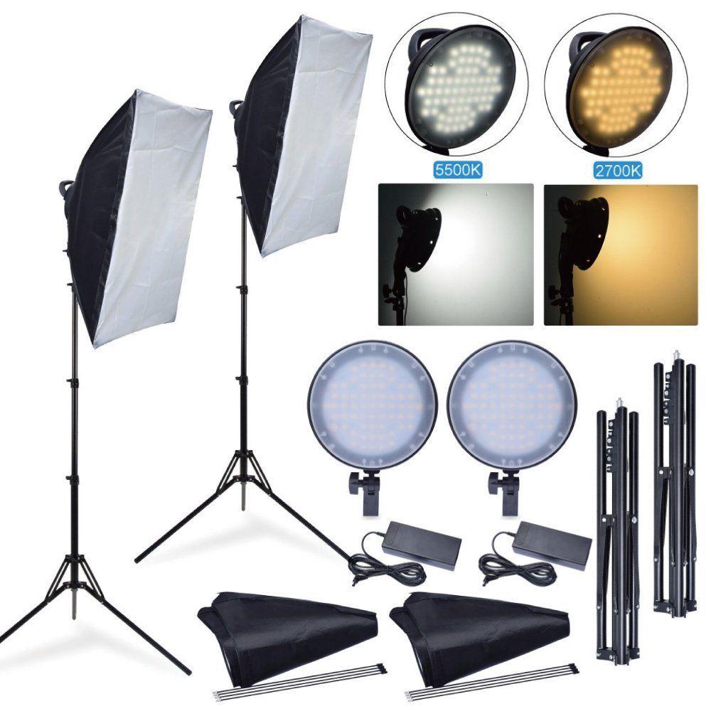 Fotoconic 45 W 2700 K 5500 K LED Dimmable Studio Photo Lumière + Softbox + Stand Kit pour La Photographie Caméra téléphone Vidéo Éclairage