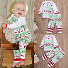 2Pcs Newborn Baby Boy Girls Deer Christmas Clothes Outfit T-shirt Tops+Pants Set