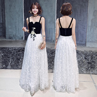 A line Evening Dress Women Sleeveless Spaghetti Strap Formal Prom Gowns Black White Patchwork Appliques Long Party Dresses E027