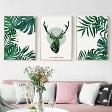 Wall Art Canvas Painting Fresh Green Leaves Deer Abstract Nordic Posters And Prints Pictures For Living Room Decor