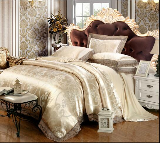 New Luxury Palace Home Textile 4pcs King/Queen Size Gold