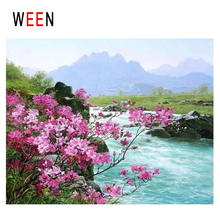 WEEN Mountain Lake Diy Painting By Numbers Abstract Flower Oil On Canvas Landscape Cuadros Decoracion Acrylic Home Art