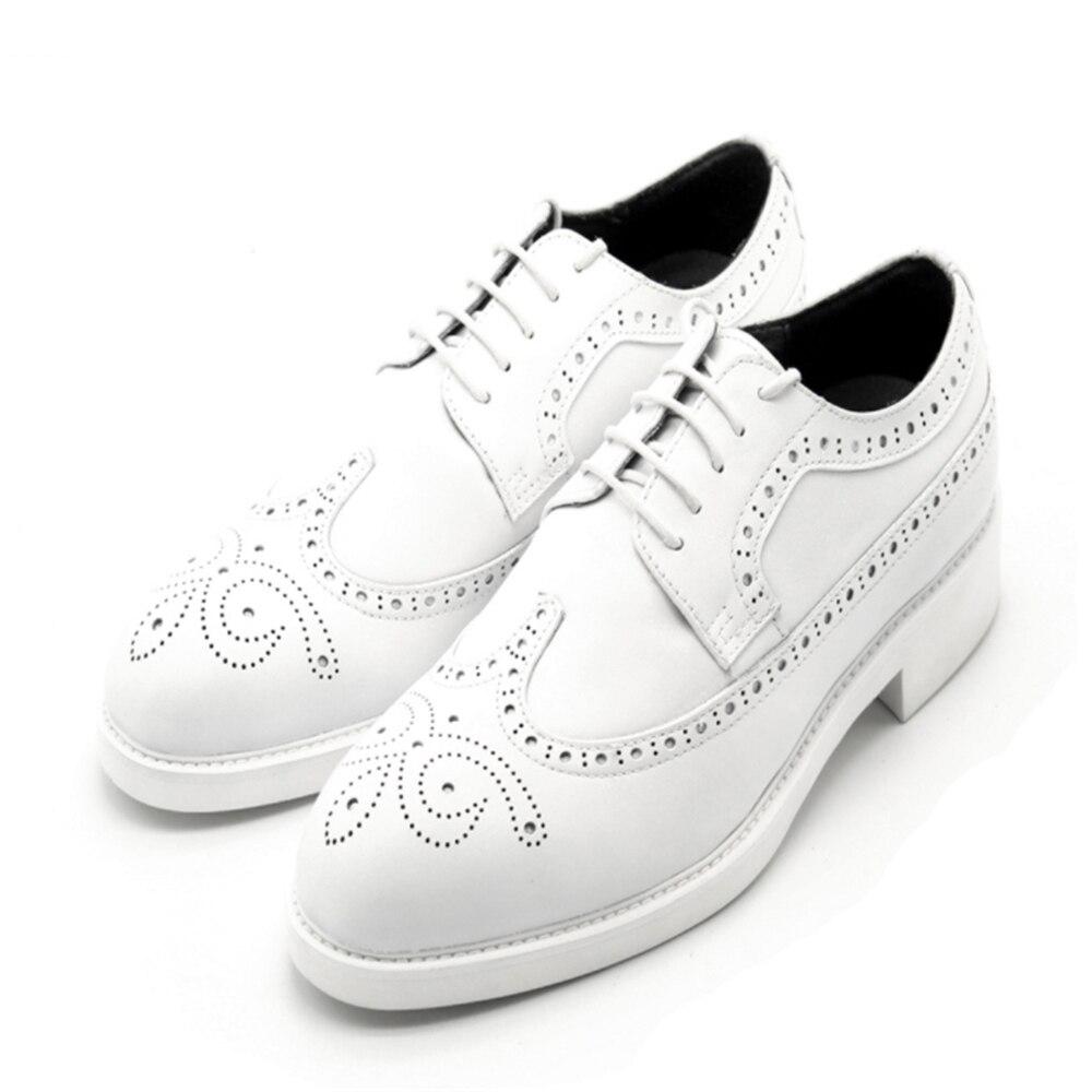 Белые туфли оксфорды из воловьей кожи с перфорацией; Мужские модельные туфли; кожаные туфли; chaussures hommes кожаный