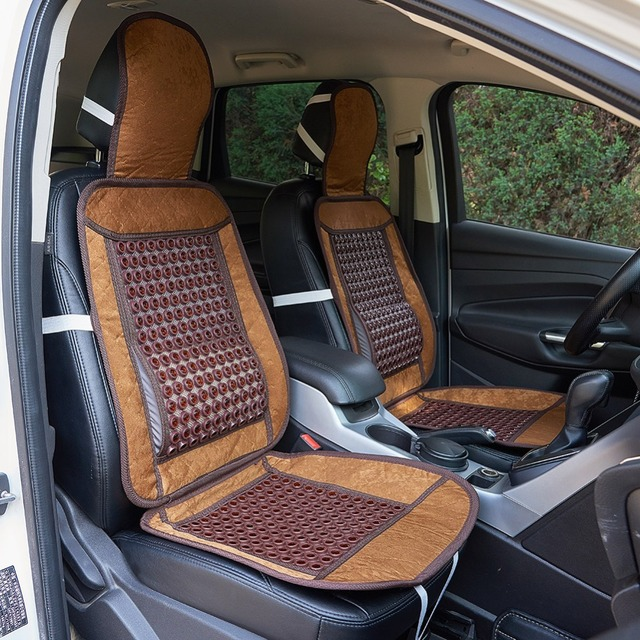 Natural Wooden Beaded Car Seat Cover Cool Cushion Massage For Auto Truck Office Chair