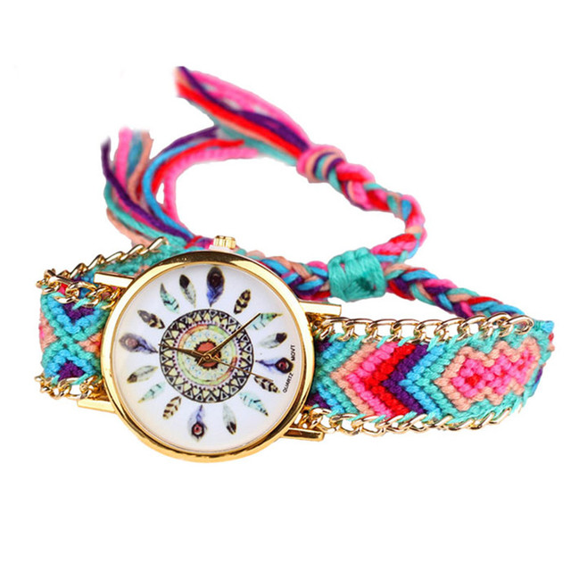 CLAUDIA 2018 Hot Marketing Leisure Fashion Peony Flower Woven Ladies Bracelet Watch Relogio Feminino Dropship Ladies Watch