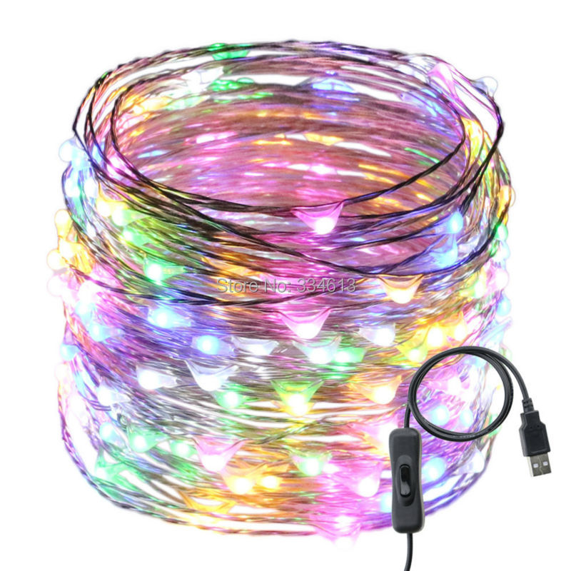 1/2/4pcs USB Switch 20M 200LED Waterproof Fairy String Lights Silver Wire Warm White Christmas Holiday Indoor Party Lights
