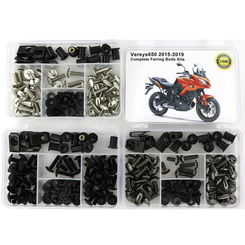 For Kawasaki Versys 650 2015 2016 2017 2018 2019 CNC Complete Fairing Bolts Kit Body Screws Washer Fastener Steel Nuts Clips image