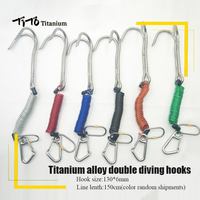 TiTo Titanium scuba double diving titanium double hook Reef Drift Hook Line Hook for Current Dive Underwater Outdoor camping
