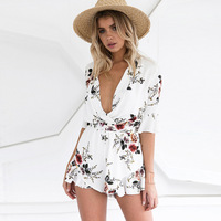 Women S Clothes Summer Printing Beach Dress V Neck Waist Belt Half Sleeve Casual Chiffon Jumpsuit