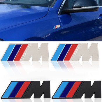 2pcs smetal Sticker Car M Power Emblem Badge Fender StickerFor BMW M3 M5 X3 X4 X5 X6 F10 F18 F30 F35 E38 E39 E46 E53  Car Stying colorfulness