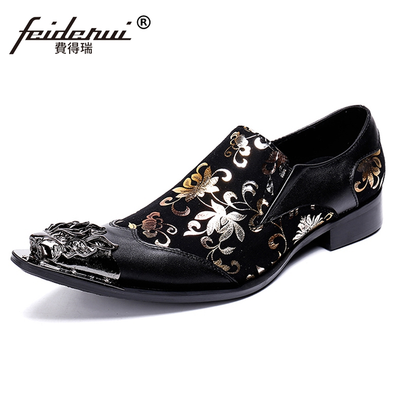 New Luxury Pointed Toe Slip on Man Formal Dress Metal Tips Loafers Genuine Leather Handmade Wedding Party Mens Shoes SL318New Luxury Pointed Toe Slip on Man Formal Dress Metal Tips Loafers Genuine Leather Handmade Wedding Party Mens Shoes SL318