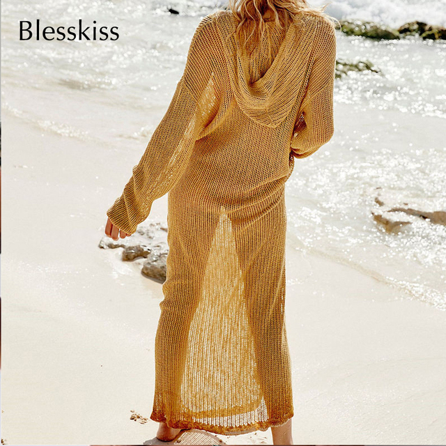 Full Length Mesh Crochet Beach Cover Up Dress 1