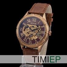 NUEVA Transparente Esqueleto hombres Mecánicos mano de viento relojes relojes de las mujeres de Cuero