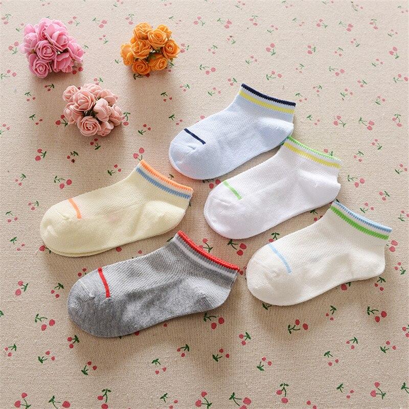 0-12Years Children Socks Summer Mesh Breathable Baby Boys Sport Sock 5pairs/Lot Stripe Cotton Girls Ankle Hose Anklets Kids Sox 9