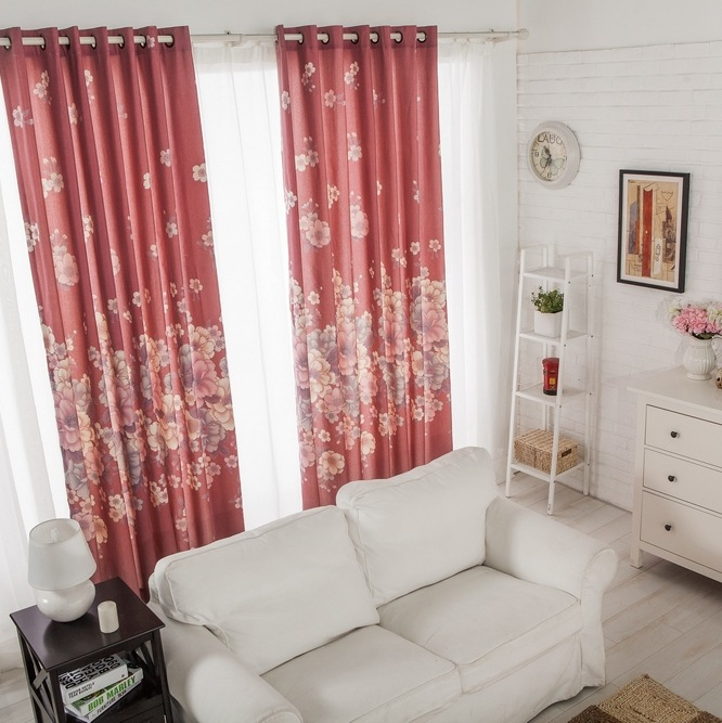 Japanese Cherry Style Red Curtain Fabric Pastoral Floral Curtains ...