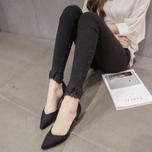 lace jeans pants jeans lace black jean push up jean skinny woman slim women korean ulzzang harajuku Pencil Pants feminina
