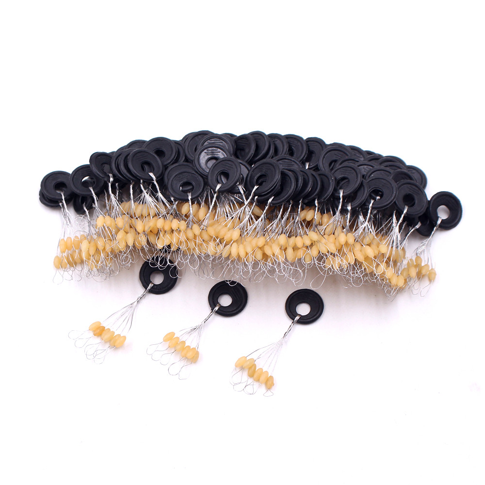60pcs Yellow Black Beef Tendon Space Bean Olive Shaped Cylindrical Fishing Gear Accessories For Fishing Tackle