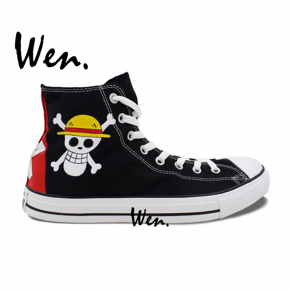 ФОТО Wen Hand Painted Shoes Anime Design Custom Sneakers One Piece Luffy Jolly Roger Black High Top Canvas Sneakers for Men Women