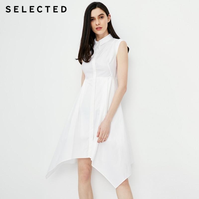 SELECTED new women s cotton white lapel sleeveless new dress S 41822J528