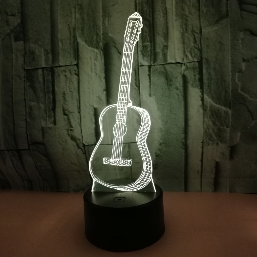 Led Lamps dbf 3d Guitar Lamp Optical Illusion Night Light For Room Decor Cool Birthday Gifts Touch/remote Control 7 Color Changing Toys Jade White