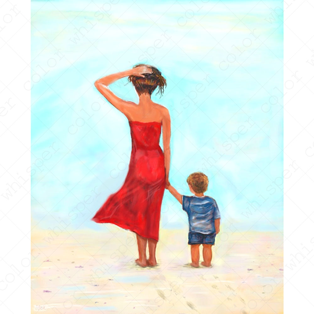 Diamond Painting Seaside Mother and Son 5D Full Square Drill Daimond Painting Diamant Embroidery for Home Decor Gift LE00450