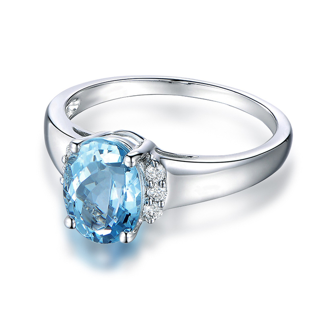AINUOSHI Classic 4 Prongs 925 Sterling Silver Solitaire Ring Light Blue Natural Topaz 3 Carats Oval Cut Engagement Ring Jewely