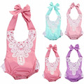 Baby Girls Sleeveless Lace Floral Rompers Fashion Halter Style One Piece Summer Jumpsuit 2016 Hot Selling Sunsuit Clothes