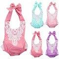Macacão de bebê Meninas Sem Mangas de Renda Floral Moda Estilo Halter Uma Peça Sunsuit Macacão Verão 2016 Venda Quente Roupas