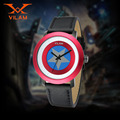 Men Luxury Military Watch Leather Wristwatch for Spider-Man Captain America Pirates Movies Design Quartz Movement Men Watches