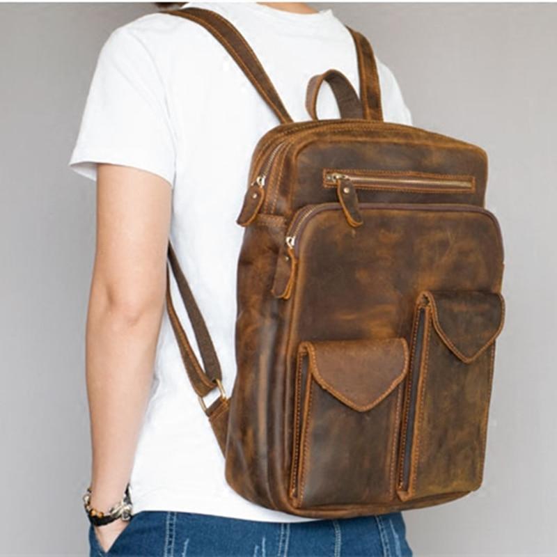 2017 brand genuine leather backpack men women designer laptop computer bag military backpacks unisex waterproof vintage book bag
