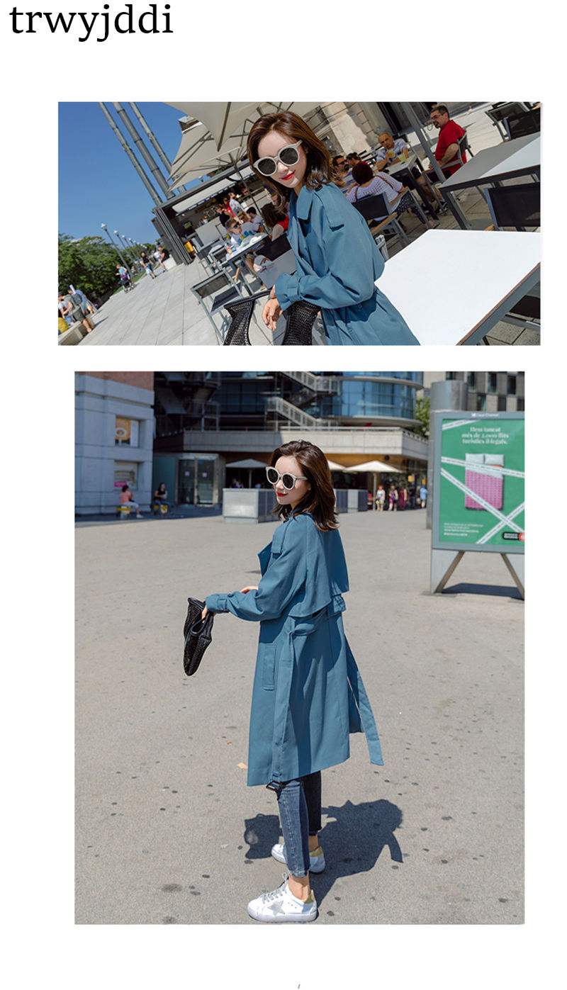Fashion Windbreaker Coats Long section 19 New Spring Autumn Coat Women Trench Coats Korean Loose Casual Ladies Outerwear N402 1