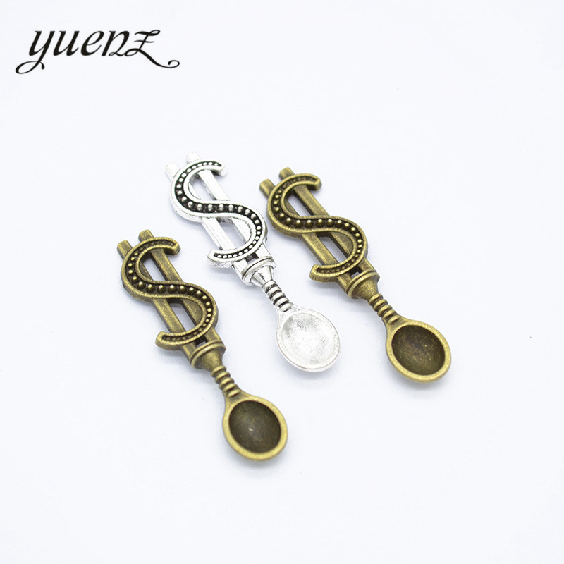 YuenZ 15pcs Metal Dollar Spoon charms for jewelry making 37*9mm J315