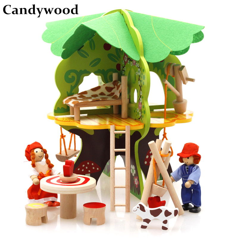 Candywood 3D DIY Wooden Puzzle Jigsaw Baby toy Kid Early learning Castle Construction pattern gift For Children Houses Puzzle