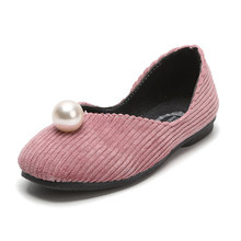 Round Toe Soft PU Pearls Girls Shoes Platform Pointe Non-slip Kids Flats  Outdoor Cute Children Shoes Princess Dance Single Shoes da8785f3b261