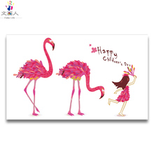 Flamingo family digital oil painting draw coloring pictures by numbers Animals with package,gift to kids for living room decor недорго, оригинальная цена