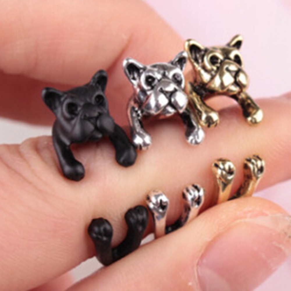1 Piece Pet Dog Opening Ring Bulldog Ringment Ring 3 Colors Fine Jewelry Drop Shipping