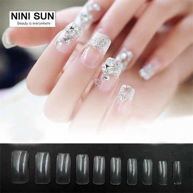 Professional 500pcs Set Fake Nails Full Cover Long False Nail Art Tips Acrylic Square