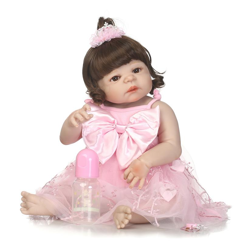 Nicery 22inch 55cm Magnetic Mouth Reborn Baby Doll Hard Silicone Lifelike Toy Gift for Children Christmas Pink  bow-knot Girl nicery 18inch 45cm reborn baby doll magnetic mouth soft silicone lifelike girl toy gift for children christmas pink hat close