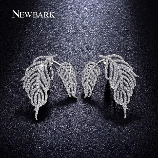 NEWBARK Elegant Couple Leaves Design Silver Color Multiple Wear Methods Stud Earrings Women CZ Diamond Big Jewelry Earing Gifts