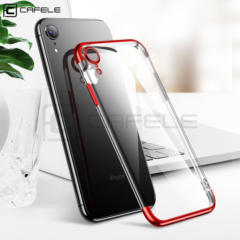 Cafele Plating TPU Case for iPhone XR 6.1 Soft Phone Clear Cover Luxury Transparent
