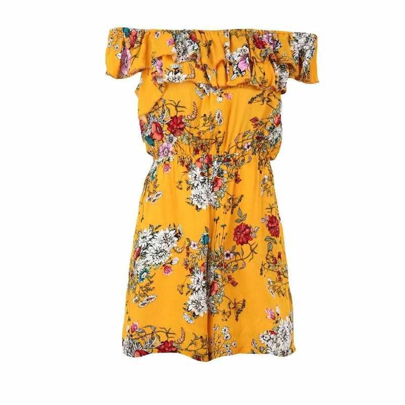 De algodón casual mono peleles de verano para mujer mono pantalones cortos uno pedazo traje de hombro amarillo floral mameluco plus tamaño B2005
